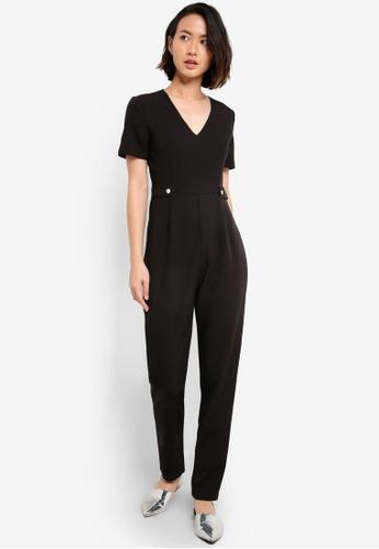 ZALORA black Short Sleeve Tailored Jumpsuit B887FAA4DA3620GS_1