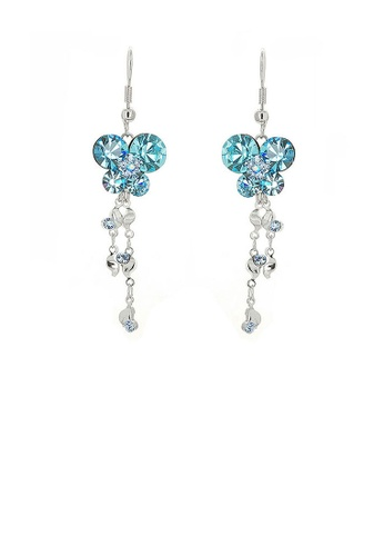 Glamorousky blue Dazzling Butterfly Earrings with Tassels and Blue Austrian Element Crystals 94DA0ACAC07477GS_1