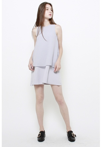 QLOTHE grey Lorelai Overlay Dress A8A0EAA95E567DGS_1