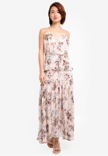 INDIKAH pink Ruffle Hem Paisley Maxi Dress 6F1E9AA7A8B9D5GS_1