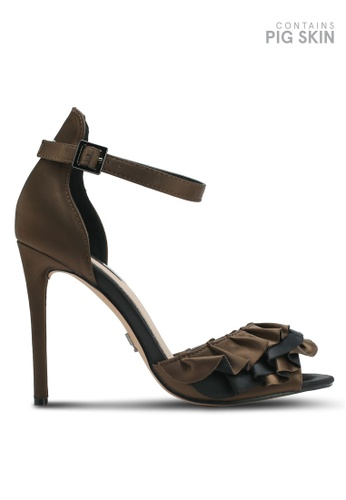 LOST INK green Michelle Ruffle Strap Heeled Sandals LO238SH0T1RFMY_1