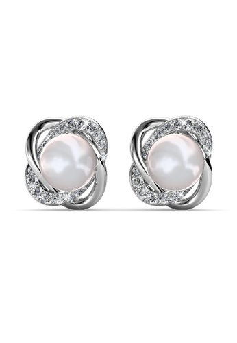 Her Jewellery silver Swarovski® Crystals - Simply Pearl Earrings (18K White Gold Plated) Her Jewellery HE581AC0RAD1MY_1