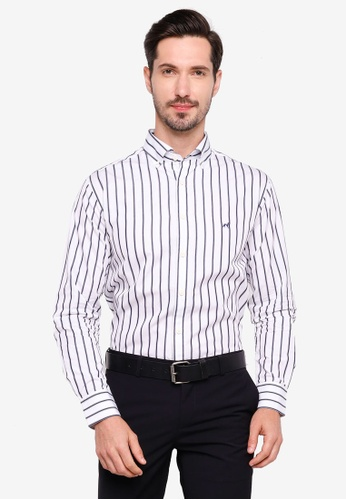 Sacoor Brothers navy Slim fit 120's double luxury cotton shirt DADF7AA78DF780GS_1