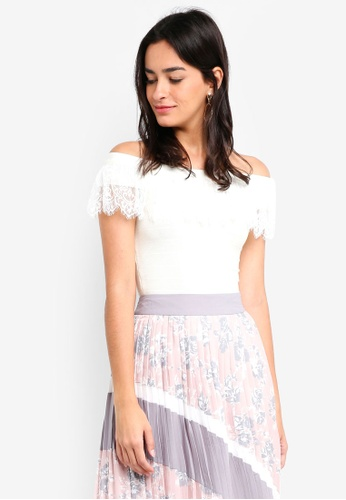 MDSCollections white Lace-Trimmed Overlay Top In White D7FC7AACDCCC91GS_1