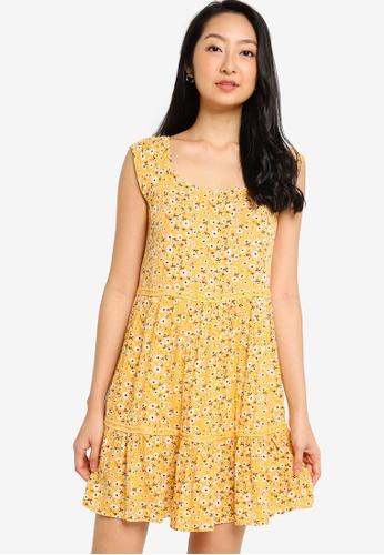 ZALORA BASICS yellow and multi Lace Tiered Dress 877E0AA3BFF7ABGS_1