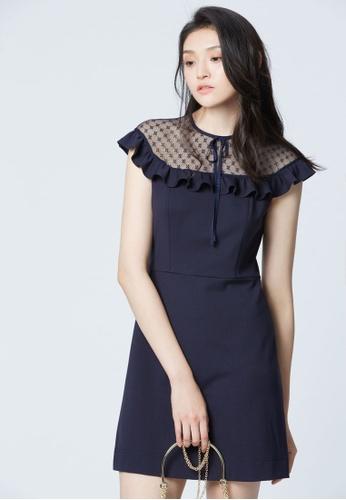 iROO blue Cap Sleeve Dress 228E1AA7B02AC3GS_1