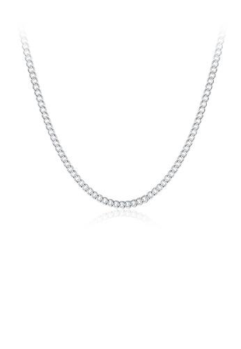 Glamorousky silver Fashion Simple 2MM Sideways Necklace 50cm E98A9AC6CE1996GS_1