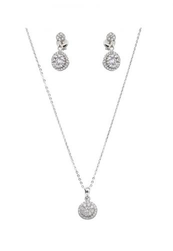 Silverworks silver Fully Zirconia Round Pave Design Set SI696AC38HMVPH_1
