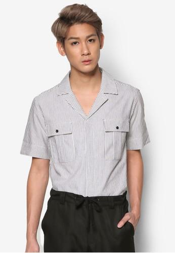 雙口袋esprit台灣官網細條紋短袖襯衫, 服飾, 襯衫