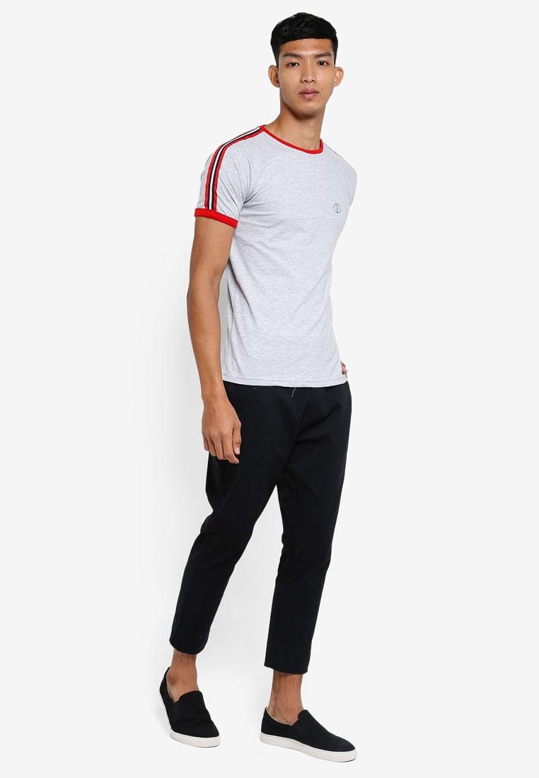 Nautical Shoulder Light Solid Grey T Striped Niels Melange Shirt d5ZxqvdY