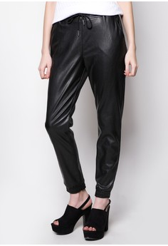 Leather Jogger Pants with Garterized Waistband