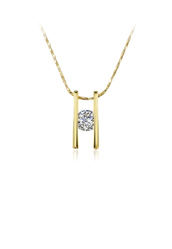 Glamorousky white Simple Plated Gold Geometric Pendant with Cubic Zircon and Necklace 6AD10ACFA64B62GS_1