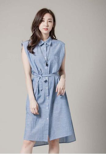 H:CONNECT blue Stripe Sleeveless Shirt Dress 7E6BBAA52E54E3GS_1