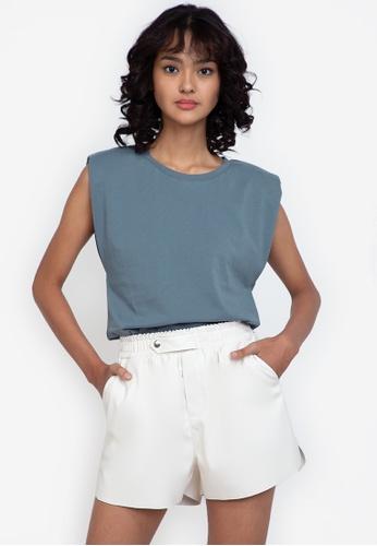 ZALORA BASICS blue Shoulder Pad T-Shirt C21D7AA3B03D7CGS_1