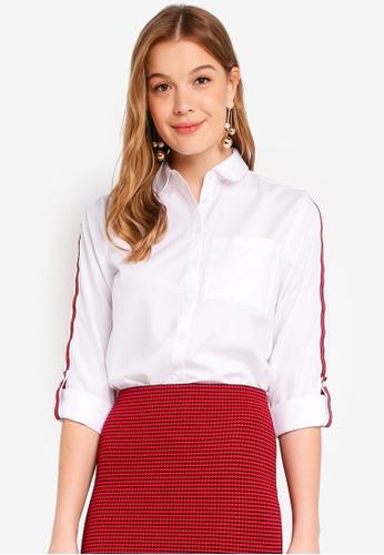Dorothy Perkins white White Sporty Stripe Shirt 79893AA3F69167GS_1