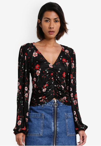 TOPSHOP black Floral Bloom Blouson Blouse TO412AA0RY2PMY_1