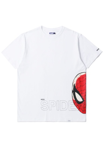 BLOCKAIT white X Marvel Spiderman graphic tee 81649AA374614AGS_1