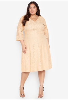b905ac4e19e9e Ashley Collection Plus beige Plus Size Lace V-Neckline Flare Dress  9A325AA3C37389GS 1