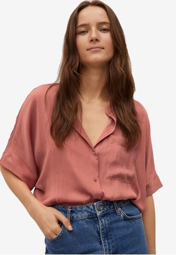 Mango red Pocket Flowy Shirt 9ECA3AA4804FDDGS_1