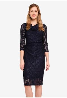 9f819496b85588 Dorothy Perkins navy Billie Black Navy Lace Cowl Bodycon Dress  BECD9AA9705430GS 1