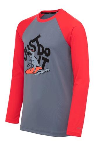 Nike grey Nike Jdi Boy's Dinosaur Long Sleeve Hydroguard A8283AA5D92FFEGS_1