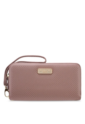 Unisa purple Saffiano Perforated Facile Zip-Up Wallet 65F1FAC4742706GS_1