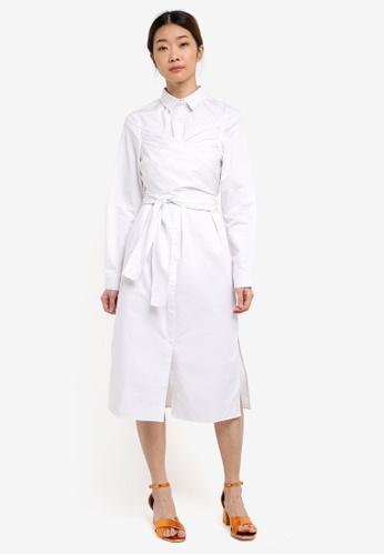 Something Borrowed white Wrap Around Shirt Dress ECCACAAD4345AFGS_1