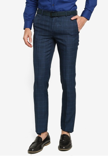 G2000 navy Slim Fit Poly Checked Pants 61497AA20E9648GS_1
