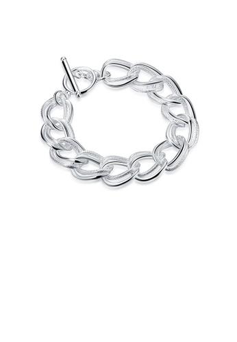 Glamorousky silver Simple Geometric Twist Double Circle Bracelet DC9E5ACB4EEAA2GS_1