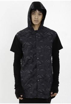[PRE-ORDER] Camouflage Hooded Short Sleeved Shirt with Silver Snap Buttons