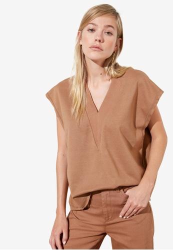 Trendyol brown V Neck Knit Top D783BAADBBE26EGS_1