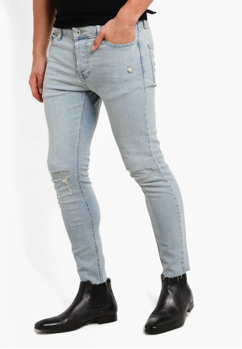 Topman blue Light Blue Rip And Repair Skinny Jeans TO413AA64VBRMY_1