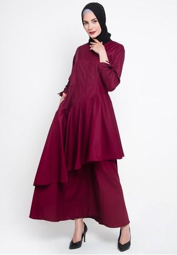 JV Hasanah red Nabila Ruffle Dress E4BC2AA6279547GS 1 244877711a