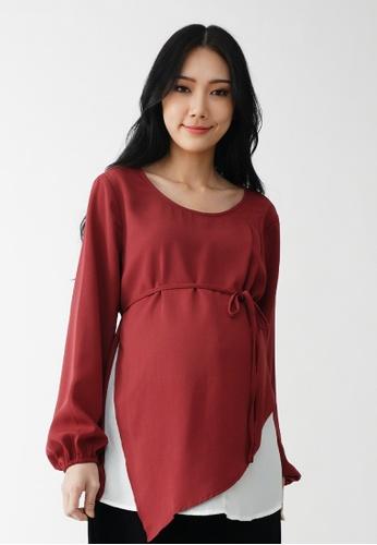 9months Maternity red Maroon Layered Nursing Blouse FA892AA3419B1CGS_1