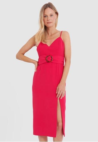 FORCAST pink Kiara Belted Midi Dress 26955AAF9F388EGS_1