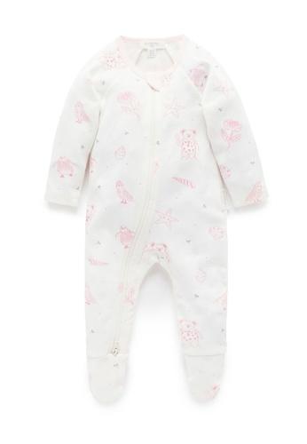 Purebaby white and pink Printed Zip Growsuit C7AF7KAB463A02GS_1