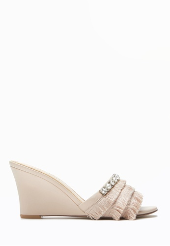 PAZZION beige Fringe Wedge Sandals F284BSH1D588E9GS_1
