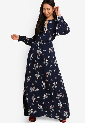 a68ba769e0254f ZALORA multi and navy Puffed Sleeves Maxi Dress 43173AA1DEAB6BGS 1