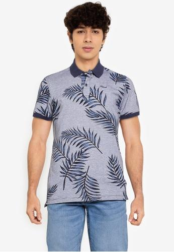 BLEND navy Leaf Print Polo Shirt 52B3FAA8ECC65FGS_1