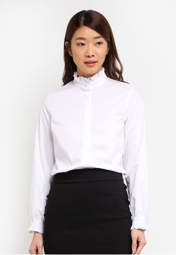 Dorothy Perkins white Ivory Frill Collar Shirt A9406AAD12D893GS_1