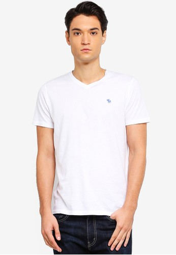 Abercrombie & Fitch white Icon V-Neck T-Shirt 0C921AA5656224GS_1