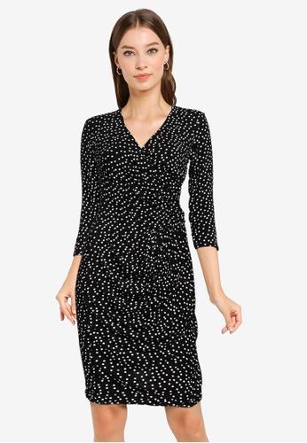 Goddiva black Wrap Style Printed Bodycon Midi Dress E458FAA4A26246GS_1