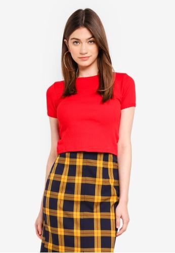 TOPSHOP red Scallop Hem T-Shirt 54327AAE7D073FGS_1