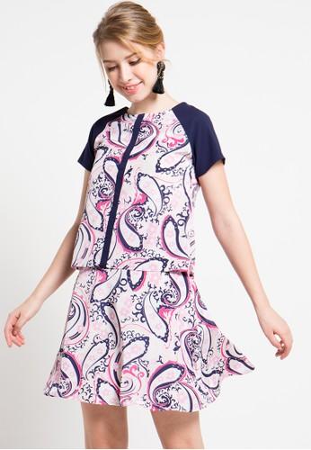 Bateeq pink Short Sleeve Paisley Blouse BA656AA57ZTYID_1