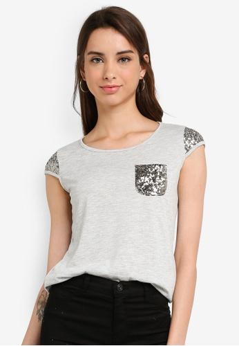 LC Waikiki 灰色 Short-袖 U-Neck Sequin-刺繡T-襯衫 74239AA622A061GS_1