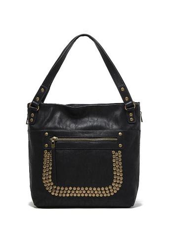 LULUGIFT black Copper Rivet PU Leather Shoulder Handbag LU989AC52EQTMY_1