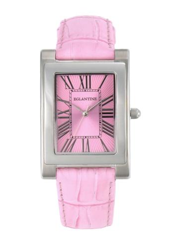 EGLANTINE pink EGLANTINE® Lily Ladies Steel Ladies Quartz Watch Pink Dial and Leather Strap 458DEACBC45F68GS_1
