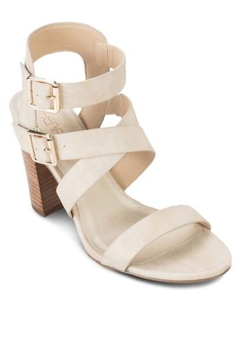 Tigris 雙扣環交叉繞踝粗跟鞋, 女esprit鞋子鞋, 鞋