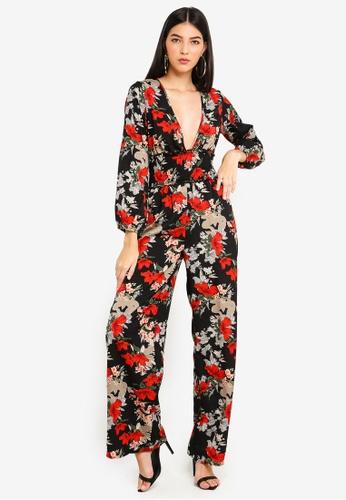 MISSGUIDED black Black Floral Shirred Jumpsuit 1E0DFAA291491BGS_1