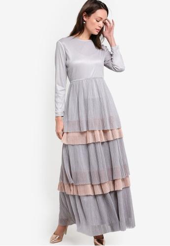 Zalia grey and silver Pleated Tulle Fit & Flare Dress 50744ZZD43E319GS_1